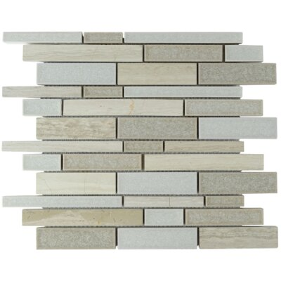 Zenith Linear Glass Stone Blend Mosaic Tile in Cloud