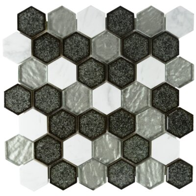 Kaleidoscope Hexagon Glass Stone Blend Mosaic Tile in Gray