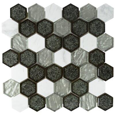 Kaleidoscope Hexagon Glass Stone Blend Mosaic Tile in Gray