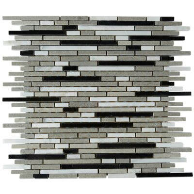 Erosion Linear Stone Mosaic Tile in Gray