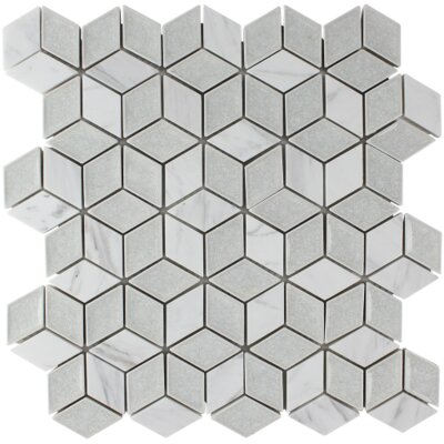 Tessellation Geometric Glass Stone Blend Mosaic Tile in Ice