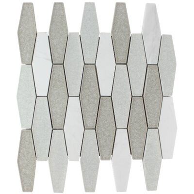 Affinity Elongated Hexagon Glass Stone Blend Mosaic Tile in Snow
