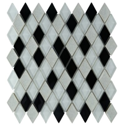 Rendevous Diamond Glass Mosaic Tile in Caviar