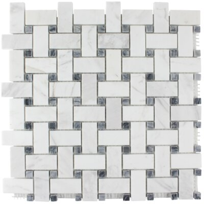 Hamptons Basketweave Stone Mosaic Tile in Carrara