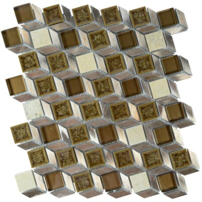 Snake Skin Geometric Glass Aluminium Blend Mosaic Tile in Bronze