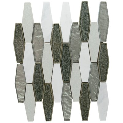 Affinity Elongated Hexagon Glass Stone Blend Mosaic Tile in Charcoal
