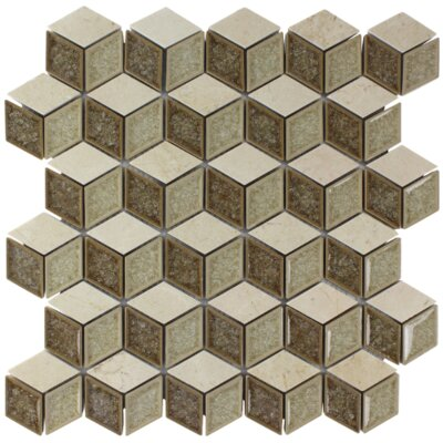 Tessellation Geometric Glass Stone Mosaic Tile in Earth
