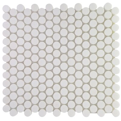Penny Round Marble Mosaic Tile in Thassos White