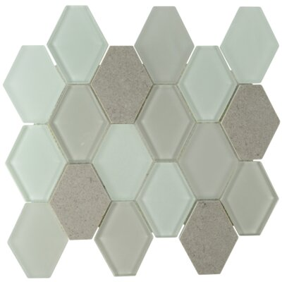 Mod Hexagon Glass Stone Blend Mosaic Tile in Cream