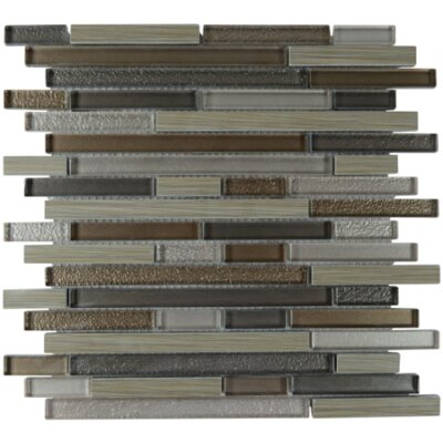 Ave Linear Glass Porcelain Blend Mosaic Tile in Mink
