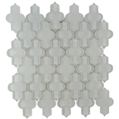 Nirvana Arabesque Glass Mosaic Tile in White