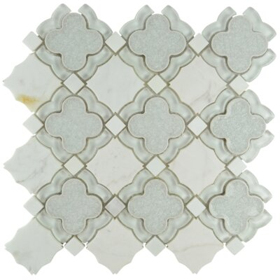 Bohemian Quatrefoil Glass Stone Blend Mosaic Tile in Frost
