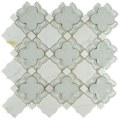 Bohemian Quatrefoil Glass Stone Blend Mosaic Tile in Frost
