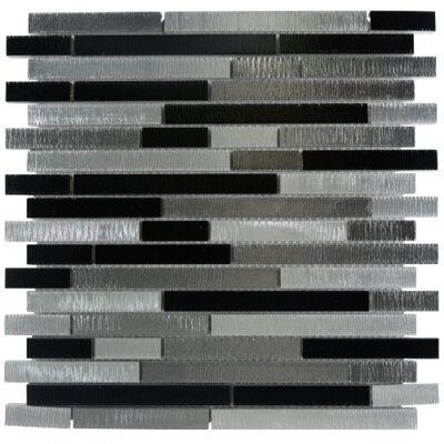 New Age Linear Glass Aluminum Blend Mosaic Tile in Gray