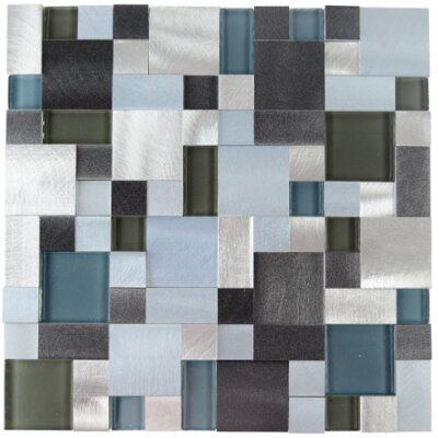 New Age Random Glass Aluminum Blend Mosaic Tile in Palladium