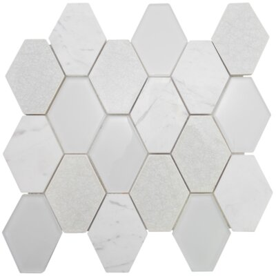 Mod Hexagon Glass Stone Blend Mosaic Tile in Mint