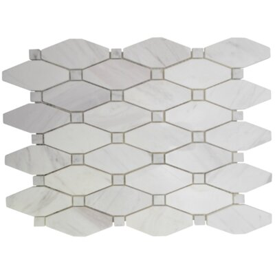 Betwixt Hexagon Basketweave Stone Mosaic Tile in Calacatta