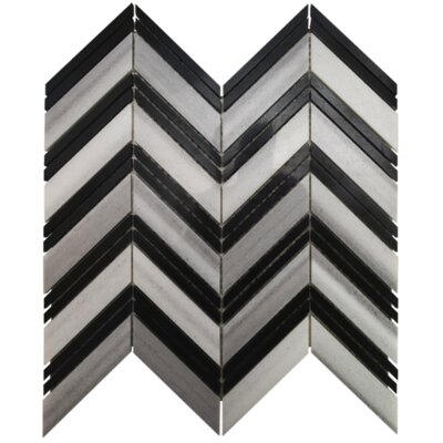 Tiffany Chevron Stone Mosaic Tile in Black and White