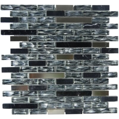 Resplendent Linear Glass Aluminum Blend Mosaic Tile in Ebony