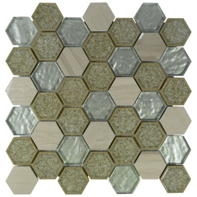 Kaleidoscope Hexagon Glass Stone Blend Mosaic Tile in Beige