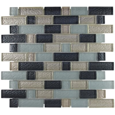 Glimmer Interlocking Brick Glass Mosaic Tile in Mink