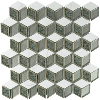 Tessellation Geometric Glass Stone Blend Mosaic Tile in Platinum