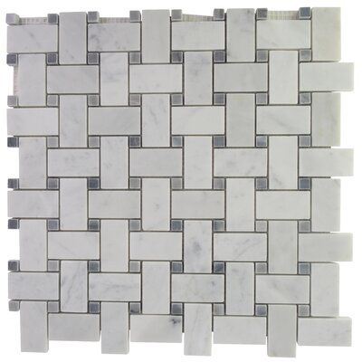 Basketweave Marble Mosaic Tile in Carrara