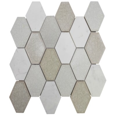 Mod Hexagon Glass Stone Blend Mosaic Tile in White