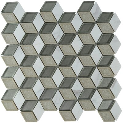 Tessellation Geometric Glass Stone Blend Mosaic Tile in Smoke