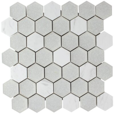Crystal Hexagon Glass Stone Blend Mosaic Tile in Cream