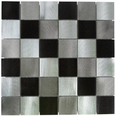 New Age Block Glass Aluminum Blend Mosaic Tile in Gray