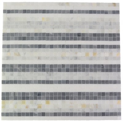 Stripe Marble Mosaic Tile in  Black and White