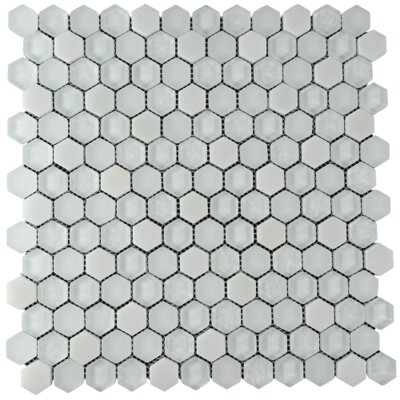 Crescendo Hexagon Glass Stone Blend Mosaic Tile in White