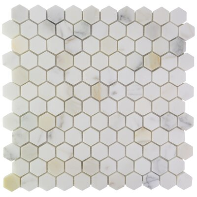 Hexagon Marble Mosaic Tile in Calacatta