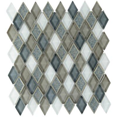 Rendevous Diamond Glass Mosaic Tile in Sterling