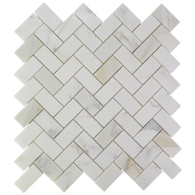 Herringbone Marble Mosaic Tile in Calacatta