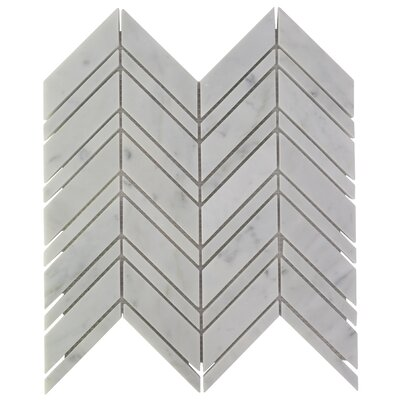 Chevron Marble Mosaic Tile in Carrara
