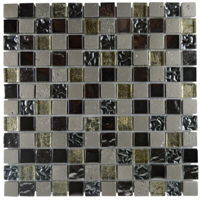 Nova Earth Square Glass Resin Blend Mosaic Tile in Gray