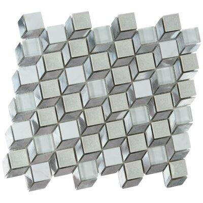 Snake Geometric Glass Aluminium Blend Mosaic Tile in Gray
