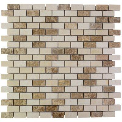 Brick Marble Mosaic Tile in Crema Marfil