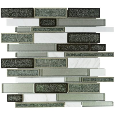 Charisma Linear Glass Stone Blend Mosaic Tile in Shadow