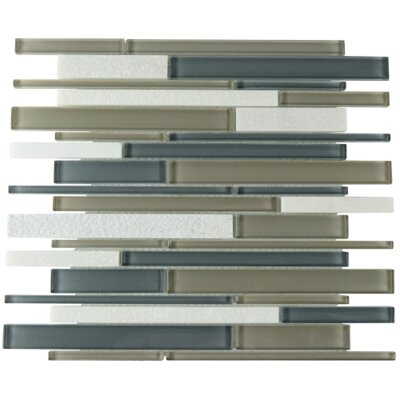 Plethora Linear Glass Stone Blend Mosaic Tile in Gunmetal