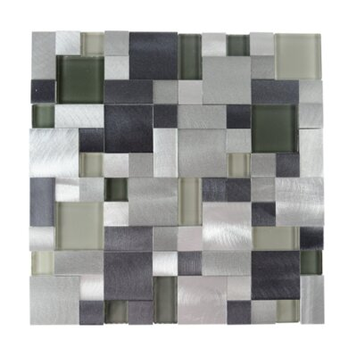 New Age Random Glass Aluminum Blend Mosaic Tile in Emerald