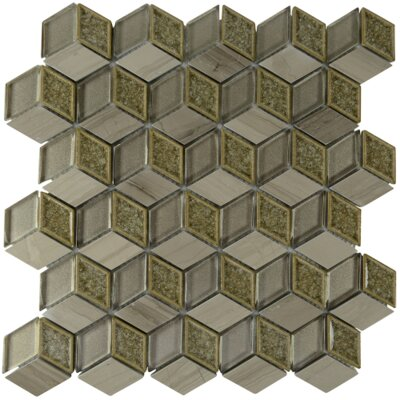 Tessellation Geometric Glass Stone Mosaic Tile in Bone