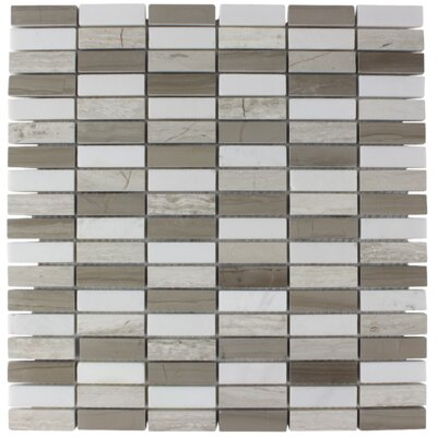 Moderno Stacked Brick Stone Mosaic Tile in Zinc