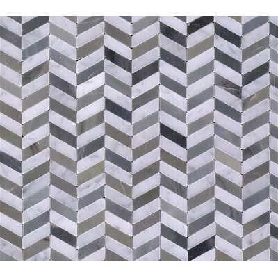Chevron Marble Mosaic Tile in Black and White