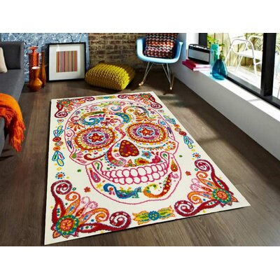 Bedroom Decor Rainbow Area Rug Rug Size: 53 x 73