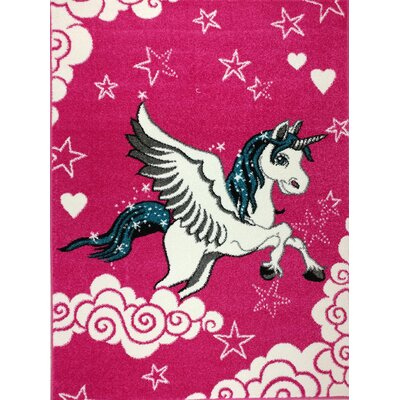 Angelia Bedroom Decor Pink Area Rug Rug Size: 5'3