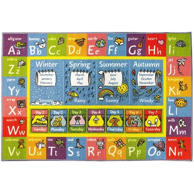 Weranna ABC Seasons Months and Days of the Week Educational Learning Blue/Yellow Indoor/Outdoor Area Rug Rug Size: 82 x 910