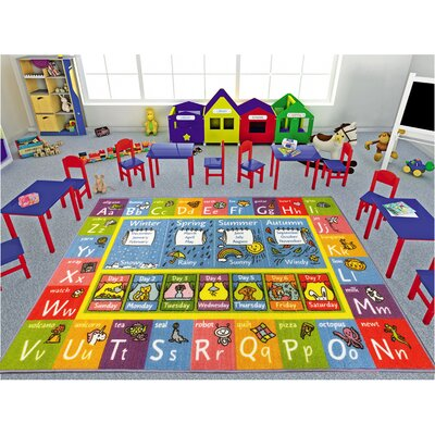 Weranna ABC Seasons Months and Days of the Week Educational Learning Blue/Yellow Indoor/Outdoor Area Rug Rug Size: 33 x 47
